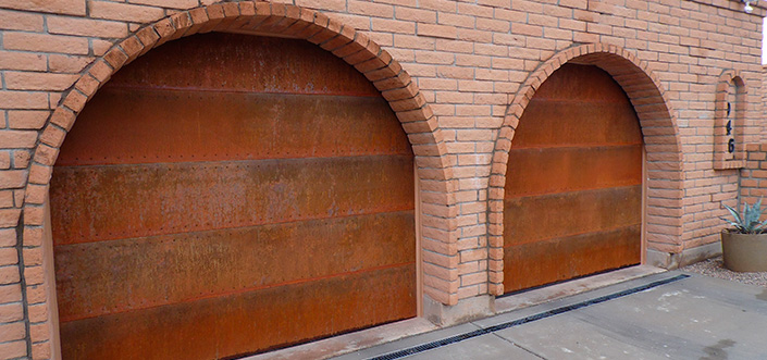 Rusted Rustic Spanish Southwestern Copper Garage Doors